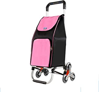 Shopping Trolleys Shopping Trolley Household Aluminum Alloy Trolley Trailer Supermarket Cart Folding Shopping Cart Can Bear 60 Kg (Color : Pink, Size : 32 * 38 * 91cm)