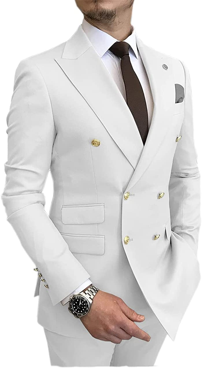 Men's Suit Casual Slim Fit Double Breasted 2 Piece Business Tuxedos for Wedding (Blazer+Pants)