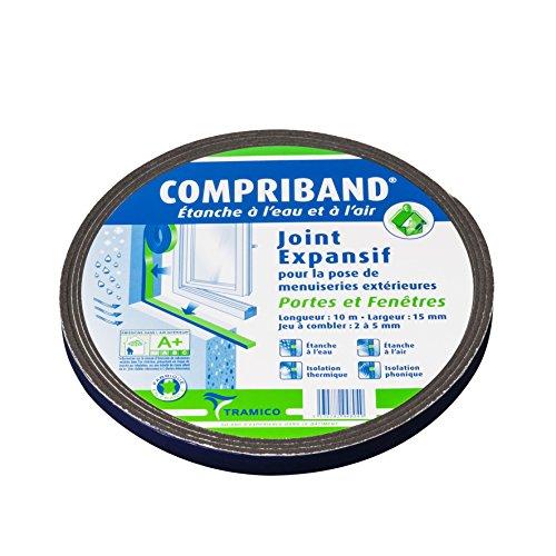 Joint Compriband 600 étanche à l'eau et à l'air de 2 à 5 mm pour portes et fenêtres Largeur 15 mm Rouleau 10 m