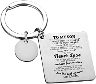 MEALGUET Stainless Steel I Want You to Believe in Your Heart Love Mom Love Dad to My Son Keychain Inspirational Gift from Mom and Dad