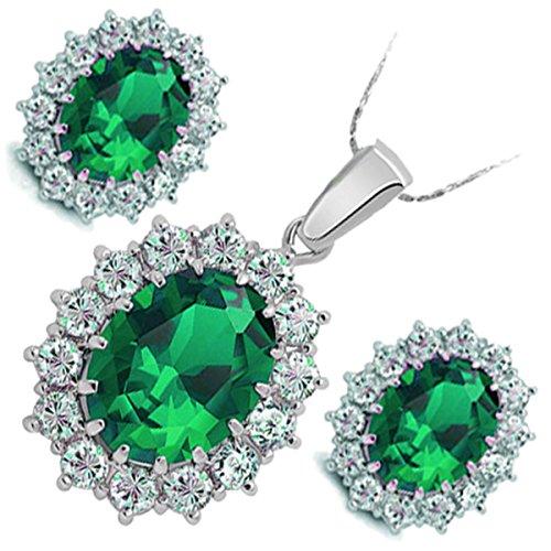 GWG Jewellery Juego de Joyas Mujer Regalo Juego de Joyas, Collar y Pendientes Bañado en Plata de Ley Flor de Cristal Ovalado de Color Esmeralda Verde y Rodeado con Piedras Retro Clásico para Mujeres