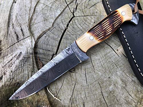 Perkin Damastmesser Jagdmesser Mit Scheide Scharf Bushcraft Messer SK100