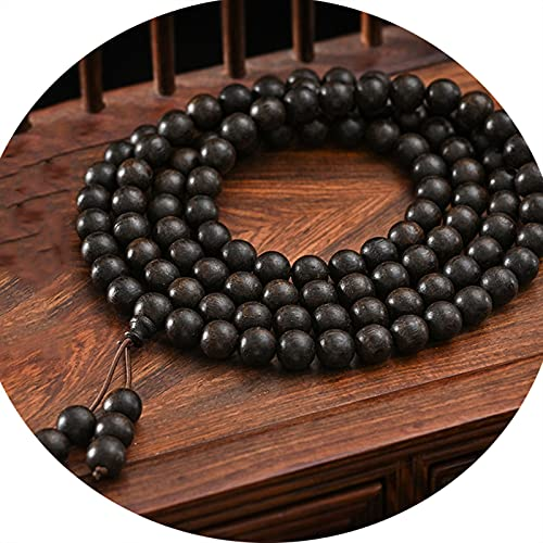 J.Memi's 108 Bead Mala Bracelet Prayer Necklace, 8mm Natural Agarwood Bead Cuff, Buddha Yoga Jewelry Meditation Accessories,Black