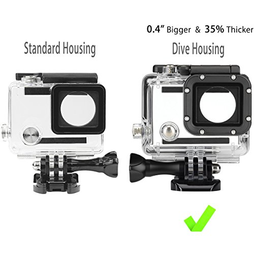 FitStill Replacement Dive Housing Case Waterproof Housing for HERO4, HERO3+ and HERO3