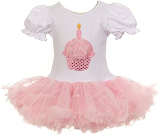 Little Girlsピンクホワイトカップケーキ誕生日アップリケチュールチュチュドレス12?m-3t