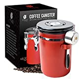 Bean Envy Airtight Coffee Canister - LARGE 22.5 oz - Includes Stainless Steel Scoop & Integrated Silicone Base - Sealed Cantilever Lid - Co2 Gas Release Wicovalve & Numerical Day/Month Tracker – Red