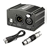 Phantom Power Supply, NUOSIYA 48V Phantom Power Supply, Stable Power Supply, Improved Shielding Technology, Anti-Noise, for Any Condenser Microphone Music Recording Equipment (1F1M-A, Black)
