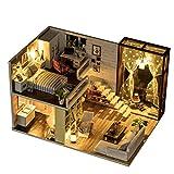 HE TUI Casa de muñecas de Madera de Bricolaje Hecha a Mano Mini apartamento Moderno Modelo Villa Juguete Polvo y Movimiento de música