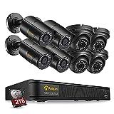 Anlapus 5MP Kit de Cámaras Seguridad Vigilancia PoE 8CH H.265+ Videograbador NVR + (8) Cámara de Vigilancia PoE Exterior, IR Visión Nocturna, Alarma de Movimiento, 2TB Disco Duro