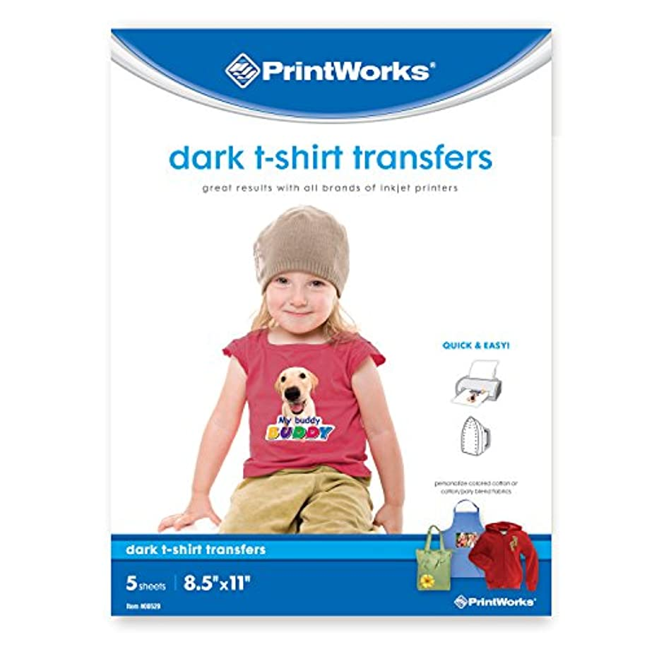 "Printworks Dark T-Shirt Transfers, Perfect for DIY Christmas Presents and Crafts, For Use on Dark and White/Light Fabrics, Photo Quality, For Inkjet Printers, 5 Sheets, 8 ?"" x 11"" (00529)"