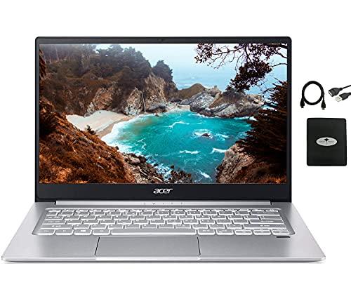 2021 Acer Swift 3 14' FHD Thin & Light Laptop, AMD Ryzen 7 4700U Octa-Core, 8GB RAM, 1TB NVMe SSD, WiFi 6 Backlit KB Fingerprint Reader HDMI, USB A&C w/Ghost Manta Accessories