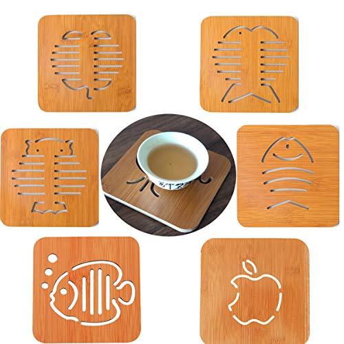 DBAILY Sottobicchieri Quadrati in Legno, 6pcs Set di Sottobicchieri Resistente al Calore Sottobicchiere di bambù Sottobicchieri Legno per Bevande Bicchiere caffè Tazza Sottobicchieri Birra