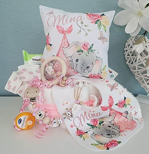 Luiertaart met naam - knuffelkussen olifant I fopspeenketting & grijpling - cadeau, babyshower, geboorte of doop + op verzoek gratis wenskaartjes