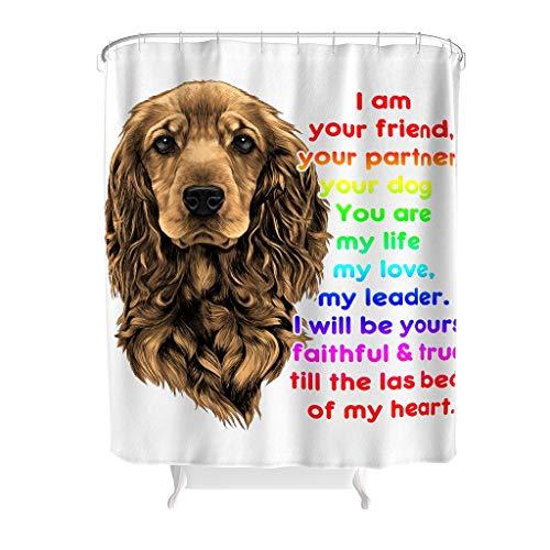 YxueSond I Am Your Friend Dog Rainbow douchegordijn waterafstotend polyester stof douchegordijnringen voor de badkamer
