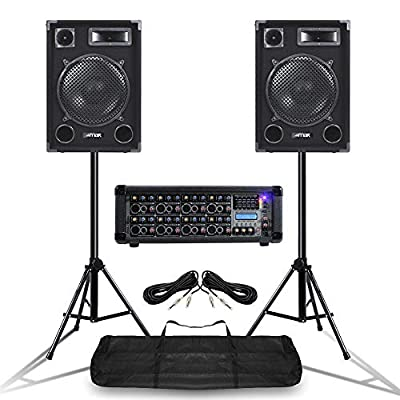 "Power Dynamics Mobile DJ Speakers PA Amplifier Mixer Stands Band Disco Kit Set 1400W 12"""