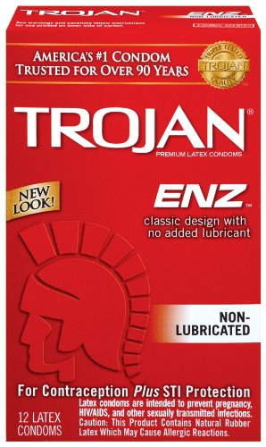 Trojan Enz Non-lubricated Condoms, 12 Count (Pack of 2)