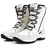 ROCKMARK Women's Warm Winter Waterproof Snow Boots Mid Calf Outdoor Footwear (11, White)