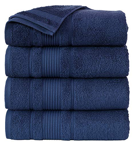 Cappadocia Collection Royal Blue Bath Towels 4 Piece Set 100% Cotton Luxury Quick Dry Turkish Towels for Bathroom Guests Hot Tub Pool Gym Camp Travel College Dorm Hotel Quality Soft 27quotx52quot