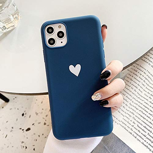 LIMITED Fundas De Teléfono De Silicona Mate Heart para iPhone 11 11Pro MAX X XR XS MAX 6 6s 7 8 Plus Fundas Suaves De La Contraportada De Parejas Lindas (Azul,For iPhone 7)