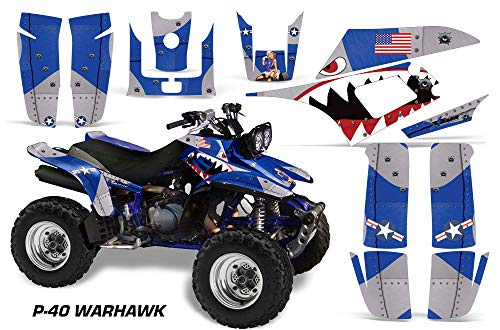 AMR Racing ATV Graphics kit Sticker Decal Compatible with Yamaha Warrior 350 All Years - P-40 Warhawk Blue