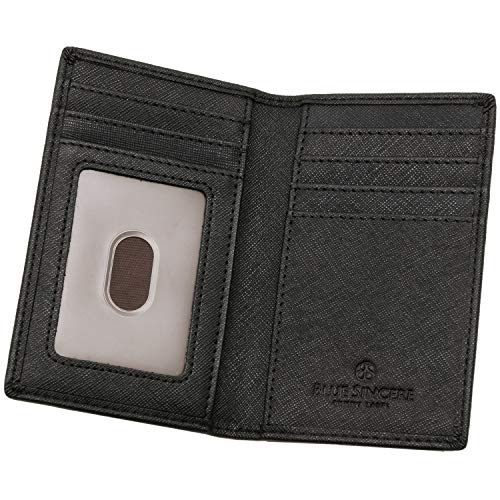 BLUE SINCERE 本革 カードケース 磁気防止 薄型 メンズ 二つ折り カード9枚収納 カード入れ パスケース クレジットカード 免許証 SLC4 (ロイヤルブラック)