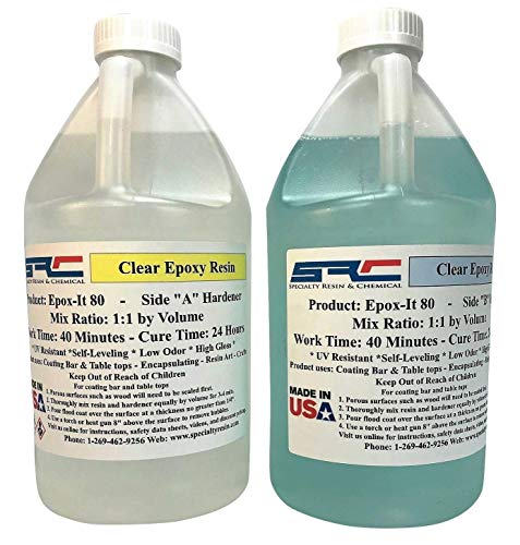Epox-It 80 Clear Epoxy Resin for Wood Bar Table Top, Encapsulating, Coating Resin Art - 1 Gallon Kit
