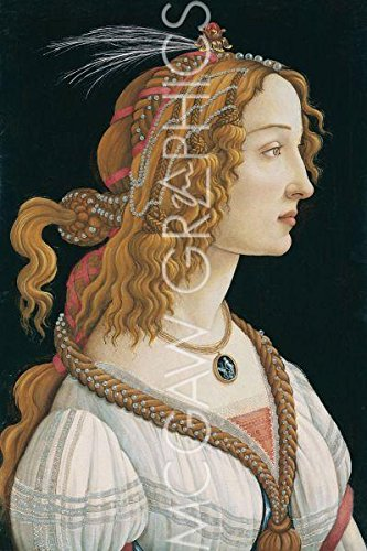 """Bruce McGaw Graphics Idealized Portrait of a Lady (Portrait of Simonetta Vespucci as Nymph), 1480 by Sandro Botticelli, Art Print Poster 11"""" x 14"""""""