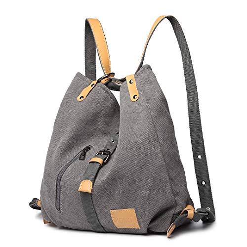 Kono Damen Canvas Handtasche Rucksack Frauen Schultertasche Shopper Tasche Vintage Hobo Umhängentasche für Arbeit Schule Reise (Grau)