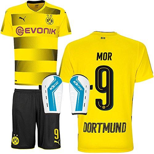 BVB Borussia Dortmund Set bestehend aus Heimtrikot Heimhose Saison 2017 2018 und Schienbeinschoner Farbe Mor, Größe L