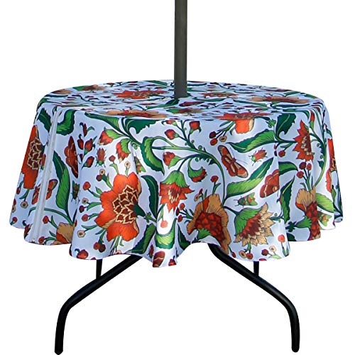 Ehousehome Outdoor and Indoor 60inch Round Tablecloth with Umbrella Hole and Zipper, Waterproof Zippered Patio Table Cloths, Spring/Summer Table Covers for Backyard Circular Table/BBQs/Picnic