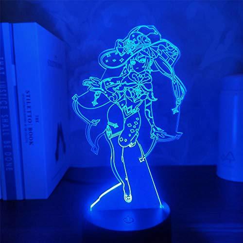 Genshin Impact Mona 3D lámpara de juego de ilusión LED Figura de luz nocturna para niños niños dormitorio decoración táctil sensor acrílico mesa regalo 7 colores, control táctil