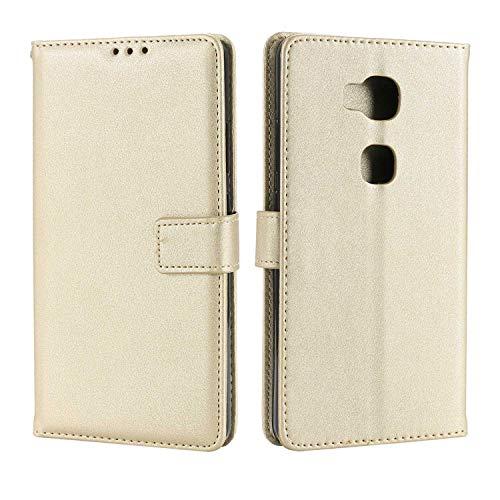 DENDICO Huawei Honor 5X Hülle, Premium Leder Flip Handyhülle Schutzhülle, Wallet Tasche Brieftasche im Bookstyle mit Standfunktion - Weiß