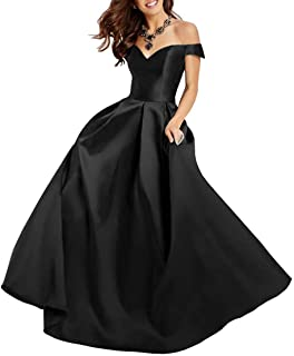 Off Shoulder Formal Dresses for Women Evening Gowns Long Satin A-Line Prom Dresses 2019 with Pockets
