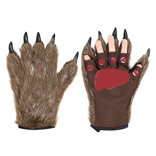 Halloween Handschuhe EIN Paar Wolf Pfote Cosplay Kostüm Dekoration Tiertatzen Warm Plüsch Fantasie Haarige Monster-Hände Unisex Werwolf Hände One Size Cartoon Handschuhe für Frauen Männer
