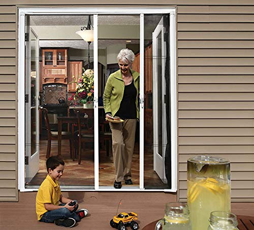"""Cool Genius Retractable Screen Door for Double Door (Standard {Width (68"""" to 72"""") x Height 80"""", White)"""