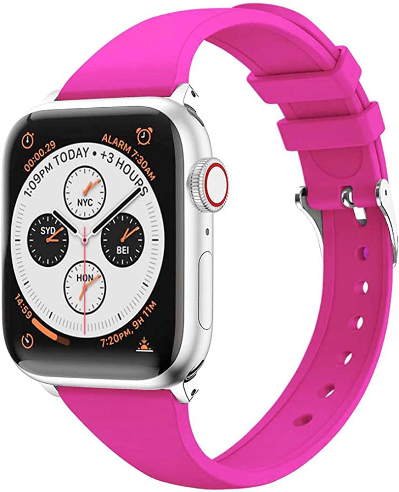 BOTOMALL Slim Bands Compatible With Apple Watch Band 38mm/40mm 42mm/44mm Series 6 SE 5 4 3 2 1,Silicone Sport Replacement Strap Bracelet for iWatch all Models