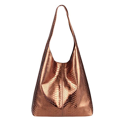 OBC Made IN Italy Damen Leder Hand-Tasche METALLIC Schlangenoptik Shopper Schultertasche Hobo-Bag Henkeltasche Beuteltasche Silber (Bronze (Schlange))