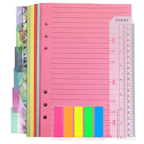 QincLing Refillable A5 Notebook Set,1 Pack 50 Sheets 6 Holes Loose-Leaf Lined Refill Paper, 6 PCS PVC Binder Index Dividers Subject Dividers, Ruler And 125 Pcs Note Flags Index Tabs