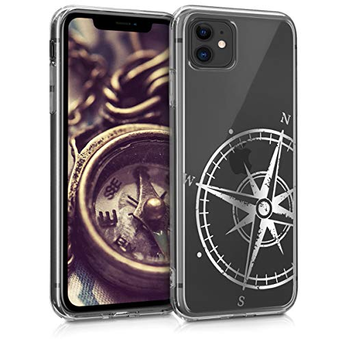 kwmobile Hülle kompatibel mit Apple iPhone 11 - Handyhülle - Handy Case Kompass Vintage Silber Transparent