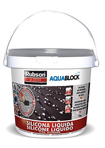 Rubson Aquablock SL3000 Silicona Líquida gris, impermeabilizante líquido para prevenir y reparar goteras y humedades, silicona elástica con tecnología Silicotec, 1 x 1 kg