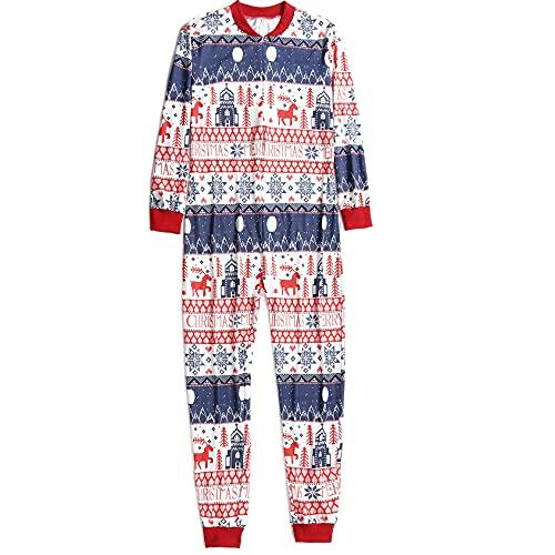 Hengyouhui Weihnachten Jumpsuit Familie Outfit Set Lange Ärmel Pyjamas Set Schlafanzug Schlafanzüge Overall Hausanzug