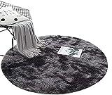 ZHOUZEKAI Alfombra Redonda, Alfombra Antideslizante para el hogar, Adecuado para la decoración de Salas de Estar y dormitorios alfombras oscuras y claras (Gris Oscuro, 80 cm)