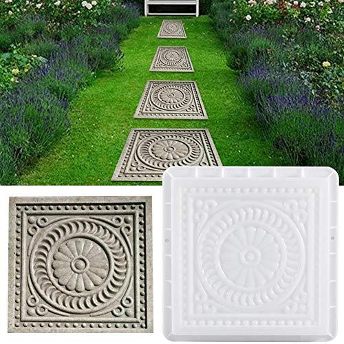 HoneybeeLY Gehweg-Form, Pflastersteine, quadratische Betonform, Trittsteinform, Garten, Rasen, Pflaster, Gehweg, 32 x 32 x 6 cm