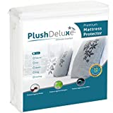 PlushDeluxe Twin Premium 100% Waterproof Mattress Protector Hypoallergenic, Vinyl Free, Breathable Soft Cotton Terry Surface - 10 Year Warranty from