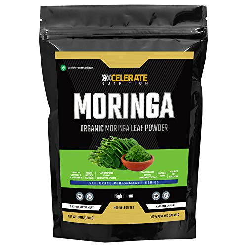 XCelerate Nutrition Organic Moringa Powder 500g - Certified Organic, Premium Quality | Rich in Dietary Fibre, Plant Protein, Minerals & Anti-oxidants | Vegan | Superfood
