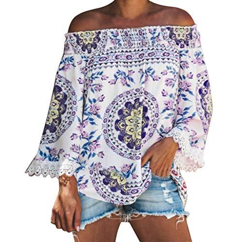 Damen Sommer T-Shirt V Ausschnitt Schulterfrei Kurzarm Frauen Sexy Vintage Bedruckt Stretch Jahrgang Weste Yoga Tee Hemden Große Lose Quaste Bluse Tops (EU:36, Lila)
