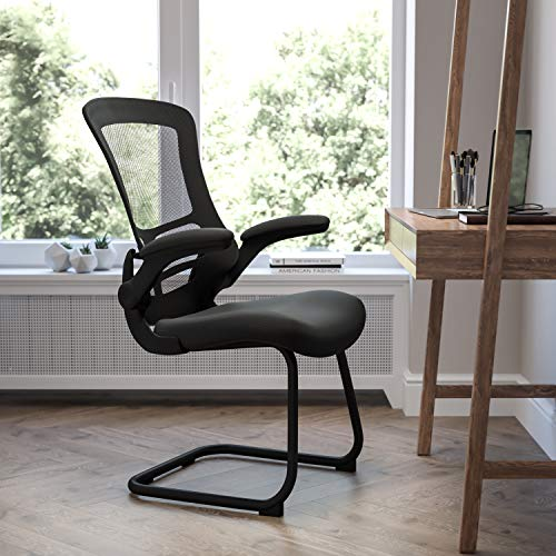 Flash Furniture Black Mesh Sled Base Side Reception Chair with Flip-Up Arms