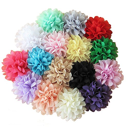 BERON 16 Pieces 4' Different Colors Handmade Chiffon Flowers for DIY Headbands Flower Accessories Flower Headband AIH0129