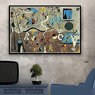 QINGRENJIE Pinturas artísticas Joan Miro Cuadro Abstracto Moderno Cartel Retro e Impresiones Arte de la Pared Lienzo Cuadros de Pared para Sala de Estar Decoración del hogar 50 * 70 cm sin Marco