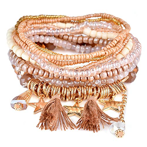 Stretch Multilayer Beaded Bracelets Stackable Bracelets, Colorful Strand Beach Bangle Crystal Bohemian Bracelet Set for Womens Girls Men Gifts